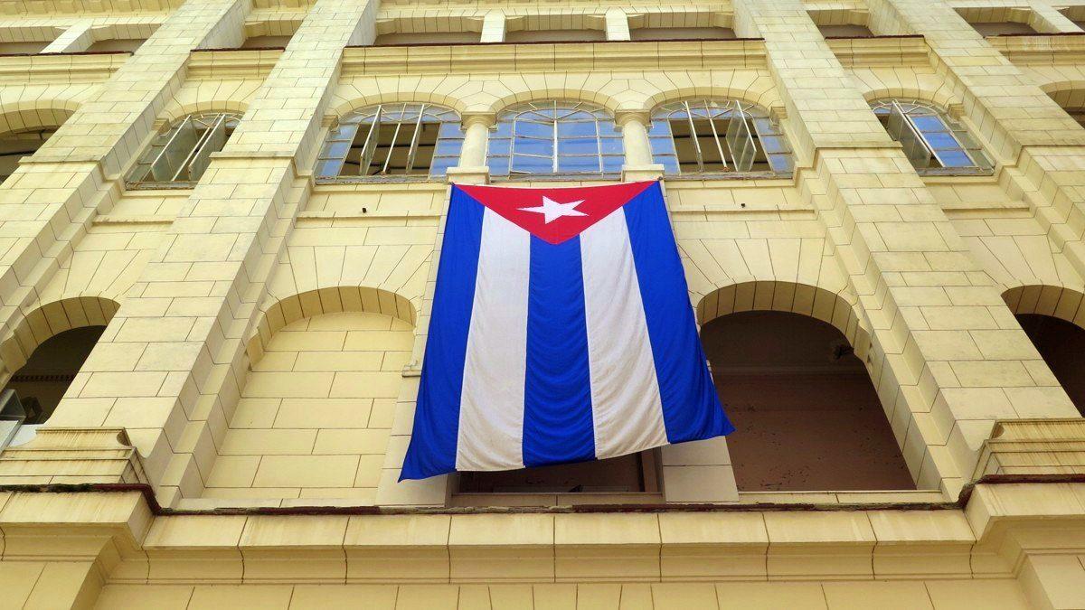 bandera de cuba en el museo de la revolucion de la haban