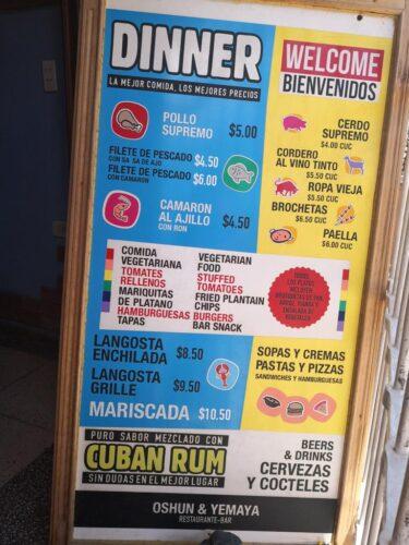 Restaurante Ochun y Yemaya en Trinidad Cuba