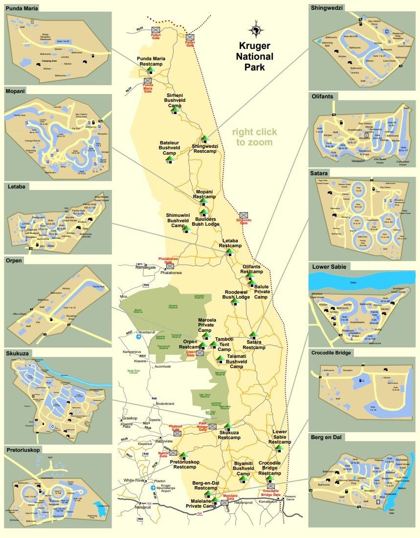 Mapa de las puertas y campamentos del Kruger